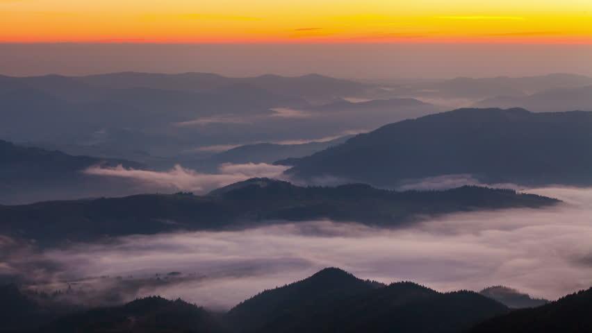 Misty dawn in the mountains. Beautiful landscape. Timelapse | Shutterstock HD Video #1018545109