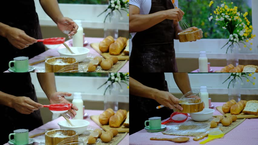 Man doing process mixing Egg and flour of making cake or bakery or bread dessert on a modern kitchen at home, breaking an egg onto heap of flour, with multi screen 4K | Shutterstock HD Video #1018568779
