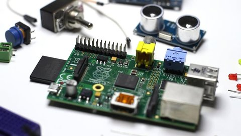 BUENOS AIRES - 28th October 2018: Raspberry Pi board with electronic components and sensors. The Raspberry Pi, or Raspi, is usually used in DIY projects
