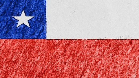 stop motion pastel chalk crayon drawn CHILE flag cartoon animation seamless loop background new quality national patriotic colorful symbol video footage