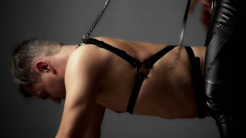 couple, unrecognizable men and women. a woman dominates a man with a whip. men's back in a harness.
