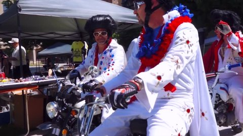 Fort Worth, Texas / United States - 05 07 2016: Elvis's on Mini Motor Cycles cruising by