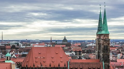Nuremberg Lorenzkirche Timelapse 4K With Rapidly Moving Clouds In Background