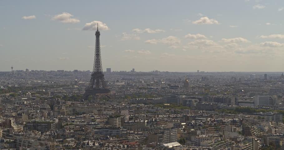 France Paris Aerial Flying around Eiffel Tower panning toward Seine 8/18 | Shutterstock HD Video #1018737649