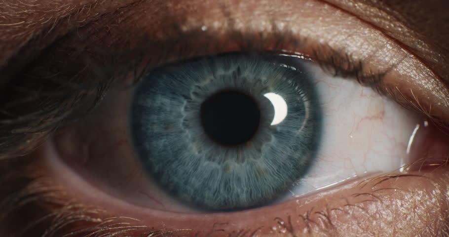 close up beautiful blue eye blinking macro human beauty #1018746859