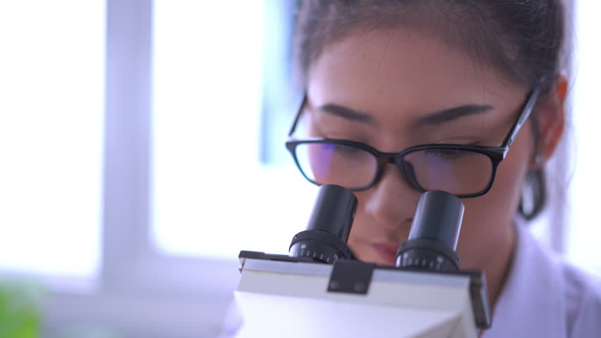 Asian female doctor working on laptop with a microscope for an exam at hospital giving patient convenience online service advice, smiling write a prescription , healthcare, preventing disease science | Shutterstock HD Video #1018774369