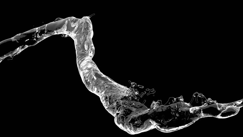 4k slow motion 3d vortex water flow with a splashes isolated on a black background with alpha matte | Shutterstock HD Video #1018833979