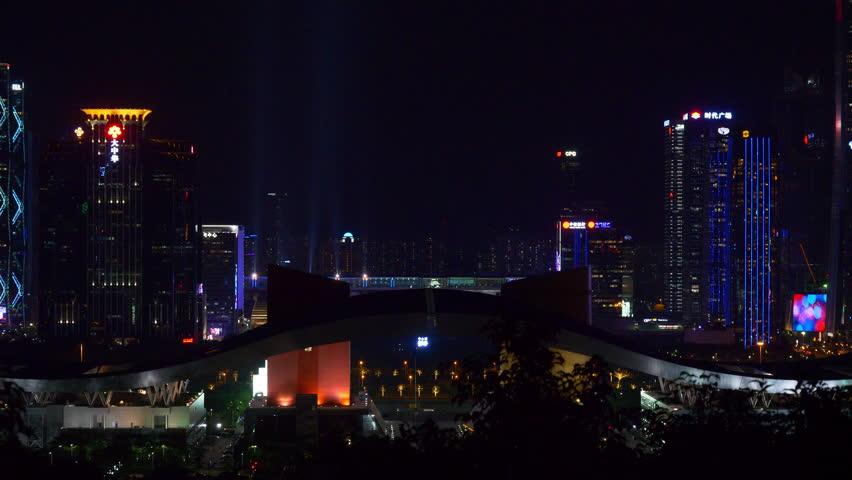 SHENZHEN, CHINA  - OCTOBER 2, 2017: night time shenzhen city downtown park view point panorama 4k circa october 2 2017 shenzhen, china. | Shutterstock HD Video #1018904179