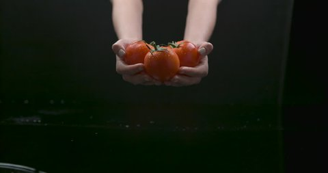 Slow zoom on female hands holding plump tomatoes over water with reflection on black background closeup in ultra slow motion with 4k Phantom Flex camera.