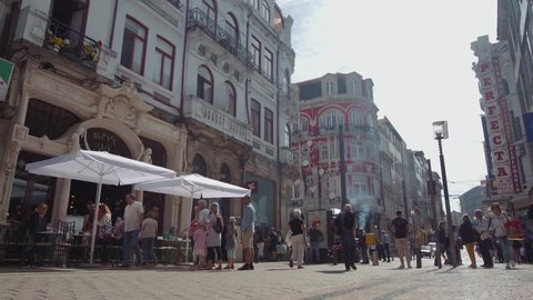 15 OCTOBER 2018, Porto, Portugal Anonymous crowd of people walking porto portugal europe City street slow motion timelapse stop legs