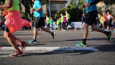 Marathon runners close up - Marseille / Cassis famous race in France