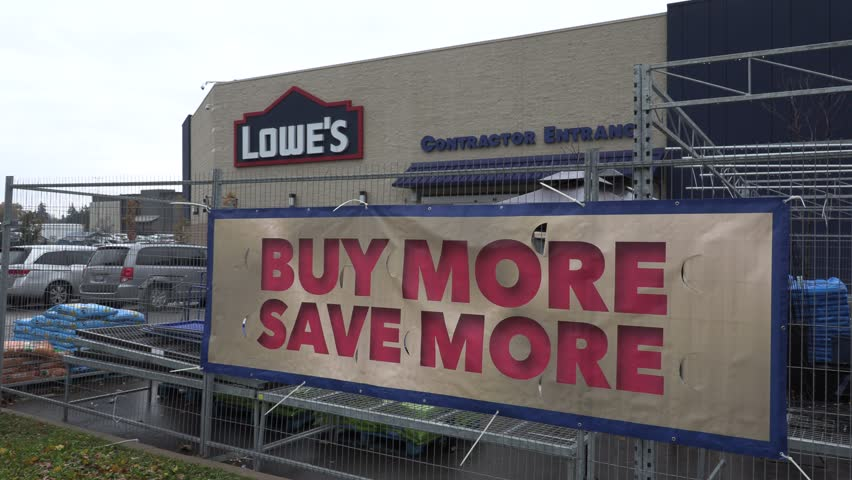 Toronto, Ontario, Canada November 2018 Lowes hardware and building supply store exteriors | Shutterstock HD Video #1019043019