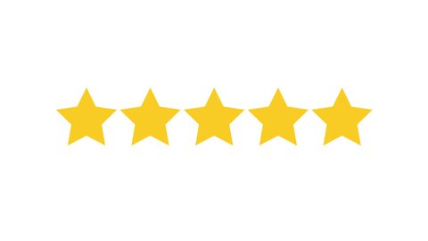 Rating Five Stars. Motion Graphics on transparent Background. Animated footage.