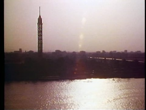 CAIRO, EGYPT, 1977, Cairo Tower, Cairo skyline, the Nile, backlighting