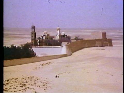 WADI NATURIM OASIS, EGYPT, 1977, Coptic monastery, desert foreground