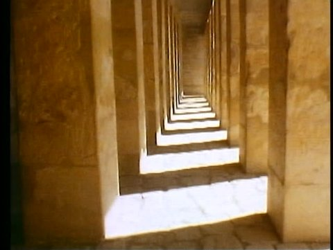 LUXOR, EGYPT, 1977, Valley of the Kings, Queen Hatshetsup temple, column hallway