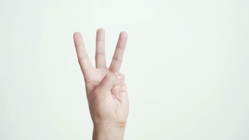 Close up of isolated female hand shows fist fist, then one, two, three, four, five fingers female hand counting from 0 to 5 on white background. 3840x2160 | Shutterstock HD Video #1019296579