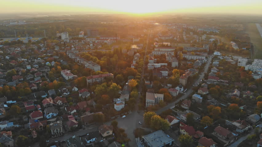 small town panoramic view from above in the autumn Uzhhorod Ukraine Europe during the sunset