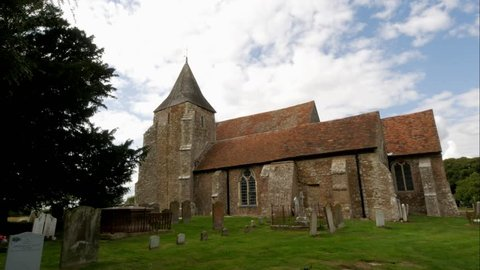 Old Medieval Church time-lapse in English Countryside. St. Clements Church in Old Romney, Romney Marsh