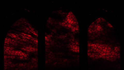 Stain glass window scene with view from inside dark church looking outside, through the windows you can see the sky and rolling clouds through red glass