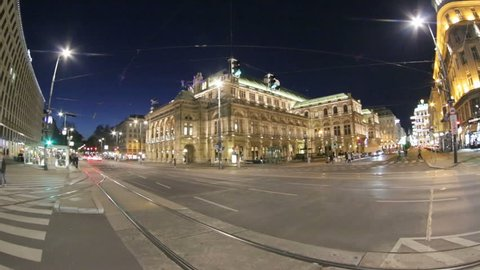 VIENNA, AUSTRIA - APRIL 20, 2016: View of Vienna State Opera House. Wiener Staatsoper produces 50-70 operas and ballets in about 300 performance per year