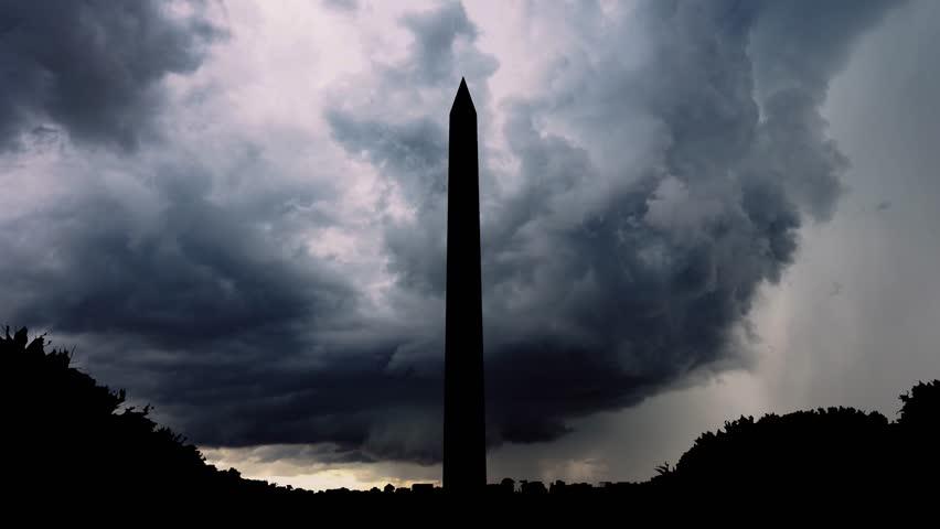 The Washington Monument, Washington, D.C., USA Capital, Huge Storm Timelapse | Shutterstock HD Video #1019456869