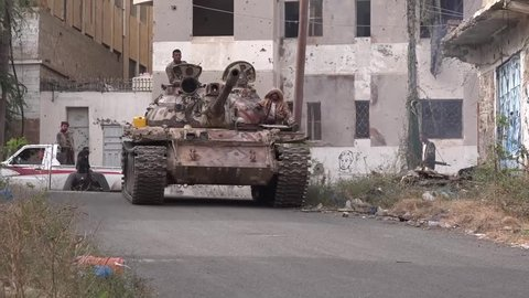 Military battles in the city of Taiz south Yemen between the national army and the Houthis. City.Taiz / Yemen - March 03 2018.