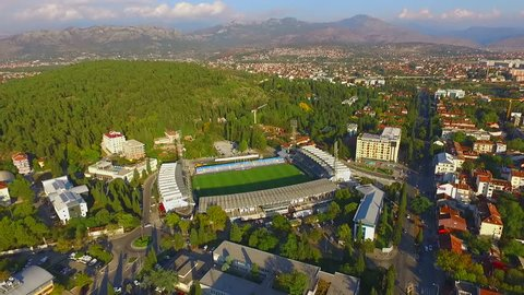 MONTENEGRO - PODGORICA, MAY 2015 - Podgorica City Stadium (Serbian: Stadion pod Goricom) in Montenegro. The stadium is the home ground of Montenegrin national football team and FK Buducnost Podgorica
