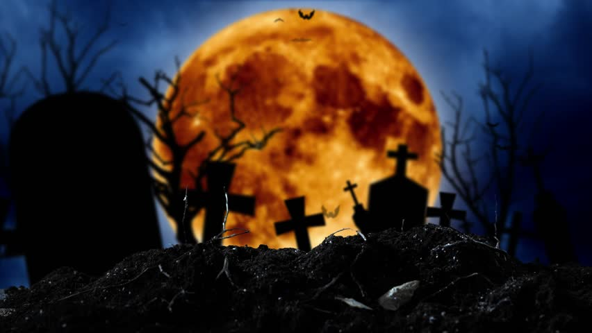 Bats fly in the graveyard behind the silhouettes of crosses and a tree and a moon | Shutterstock HD Video #1019714989