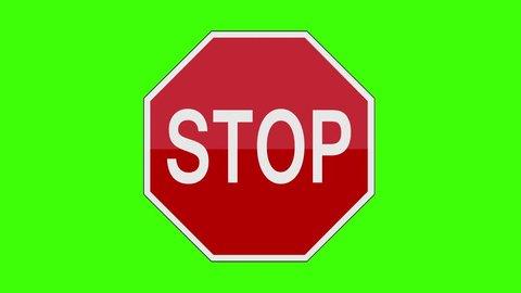 Sign Stop Green Screen