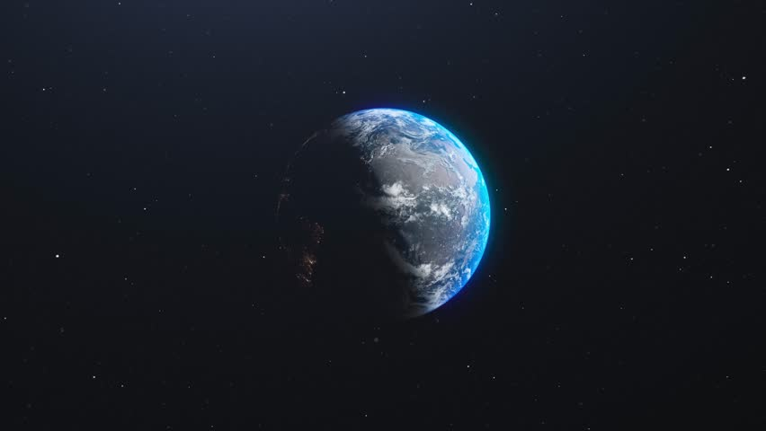 Planet Earth slowly rotating. Zoom in from outer space. Realistic world globe spinning 4k video animation | Shutterstock HD Video #1019756479