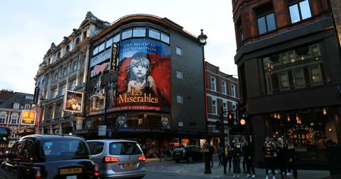 LONDON, ENGLAND - 30 AUG 2018: London theater district road Les Miserables evening England. London's West End theatre district. Similar to New York Broadway.  Theatreland has over 400 theater shows.