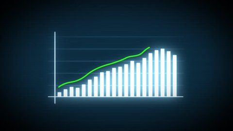4k Business Growth And Success Arrow Infographics/ Animation of a business infographics with rising arrow and bar stats appearing, symbolizing growth and success, with glitch and noise digital effects