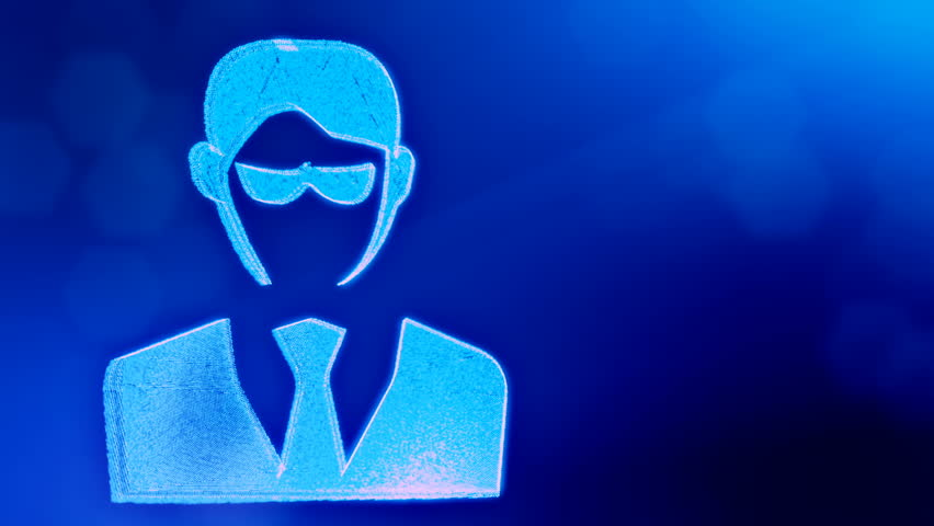 Icon of businessman or hacker.. Background made of glow particles as vitrtual hologram. 3D seamless animation with depth of field, bokeh and copy space. Blue v5 | Shutterstock HD Video #1019859439