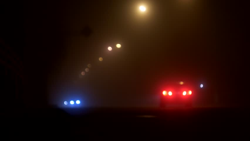 Night city street in the fog, road with cars, headlights, darkness | Shutterstock HD Video #1019880529