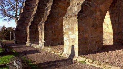 Dunfermline, Scotland, UK; November 18th 2018: Tilt up over the flying buttresses of Dunfermline Abbey.