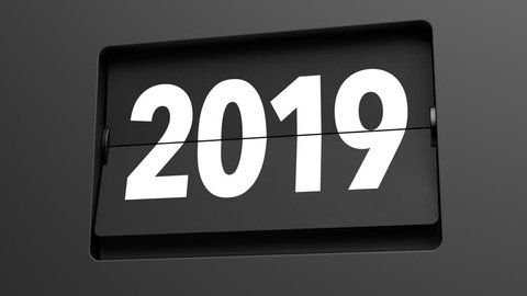A flip clock calendar turns slowly from year 2018 to 2019 - turn of the year concept - high quality 3d animation