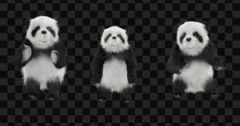 panda  CG fur 3d rendering animal realistic CGI VFX Animation  Loop alpha dance Silly Dancing Jumping Cross Jumps animals