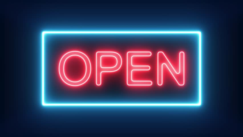 Were Open Neon Sign Background Stock Footage Video (100% Royalty-free)  1019936209 | Shutterstock