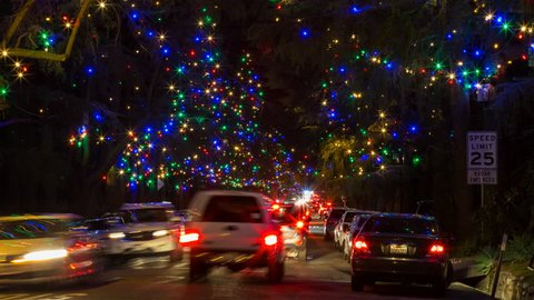 Timelapse Of Christmas Tree Lane Stock Footage Video 100 Royalty