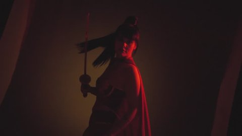 the warlike girl in top and skirt, defender of the country stands in red light, fog, her robe flutters in the wind, the woman turns to the camera, her hair amazingly flying, holding swords, katana