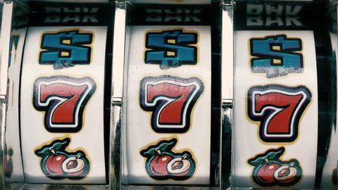 Classic vintage casino slot machine winning jackpot loop