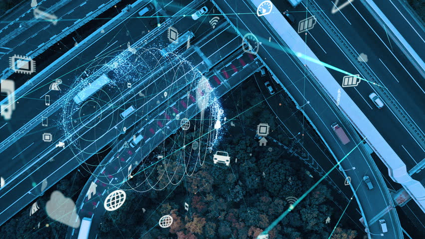 Smart transportation and communication network concept. | Shutterstock HD Video #1020116149