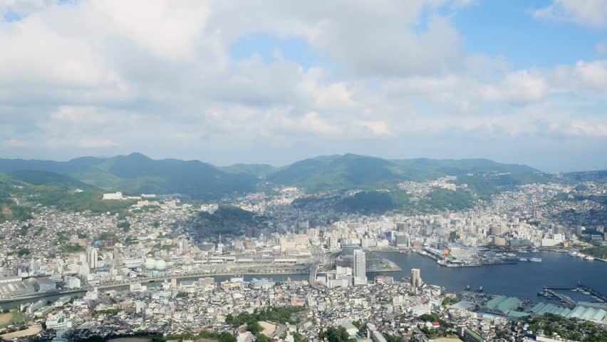Landscape of Nagasaki city from Mt. Inasa   Shutterstock HD Video #1020117949