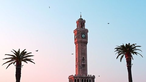 Clock tower in Konak square, city center of Izmir. Turkey. The famous clock tower became the symbol of Izmir. The clock tower was built in 1901.