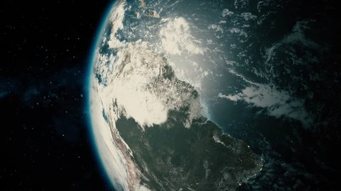 Fullscreen Earth Passes By. Beautiful, cinematic animation of our planet earth, which passes by in fullscreen.