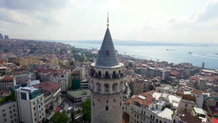 Aerial View of The Galata Tower | Shutterstock HD Video #1020265759