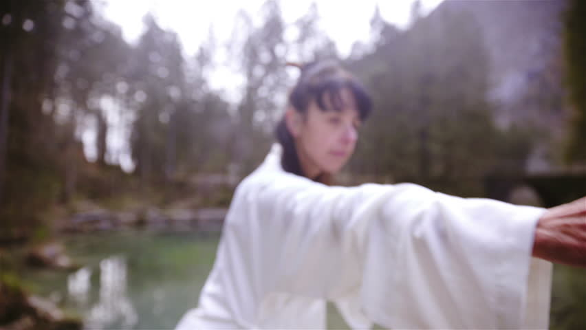 Kung Fu person outdoors training dragon forms HD. Camera on crane equipment elevating in front of female person in focus practice forms with hands. Surrounded with lake. Wearing white kimono. | Shutterstock HD Video #1020308779