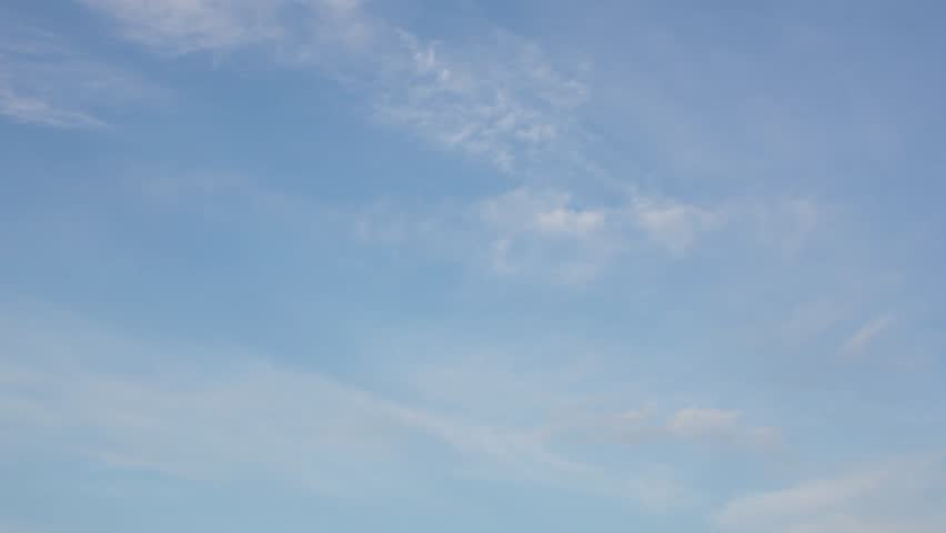 Clean blue sky, white time lapse clouds, beautiful summer sunny day, nice panoramic view, fast motion, rolling, building cloudscape, rotating cloudy horizon. UHD.   Shutterstock HD Video #1020333079