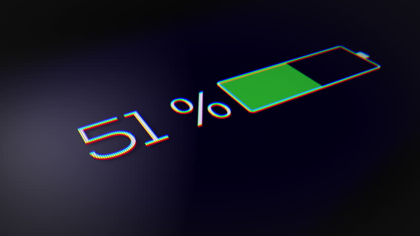 Battery Charge in Percentages, Smartphone Battery Indicator, Fully Charged, a smartphone battery indicator showing an increasing battery charge. | Shutterstock HD Video #1020349729
